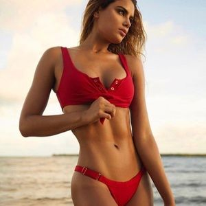 Other - JUST IN ✨red ribbed button up knot bikini set